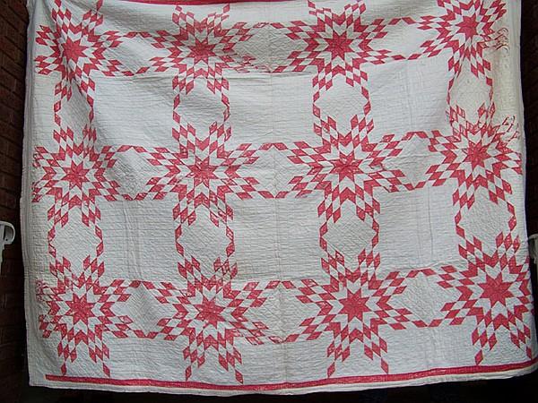 Handmade Red Star Pattern Quilt