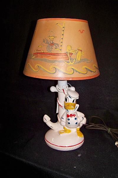 Vintage Ceramic Donald Duck Lamp with Original Shade
