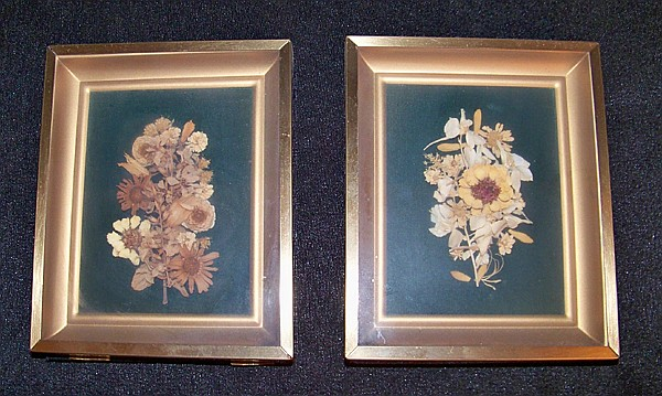 Pair of Small Dried Flower Displays in Shadowbox Frames Plus Two Other Dried Flower Pieces