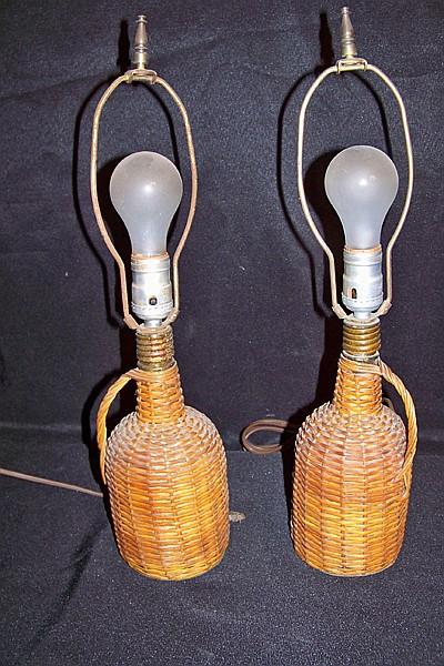 Wicker Bottle Lamps