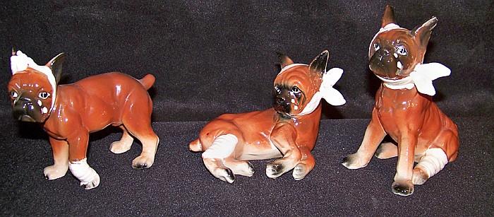 Set of 3 Small Japanese Ceramic Boxer Dog Figurines