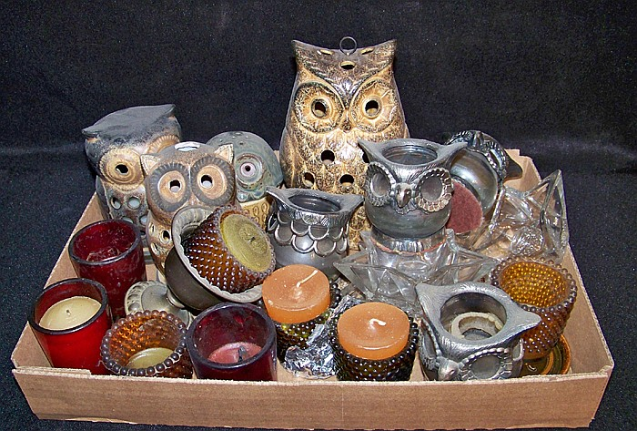 Box of Misc. Candleholders
