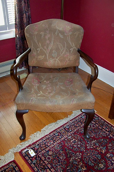 Upholstered Mahogany Arm Chair with Splayed Feet