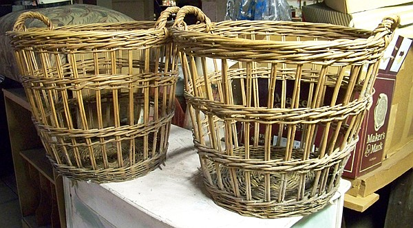 2 Wicker Laundry Clothes Baskets