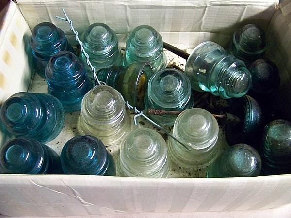 Box of 18 Glass Insulators