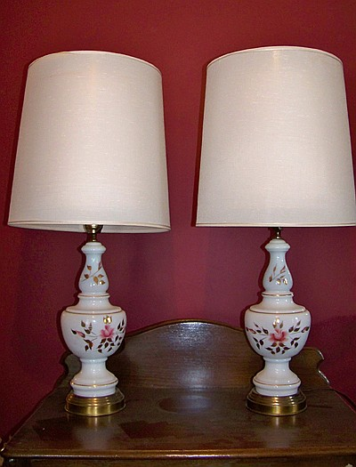 Pair of Floral Decorated Glass Lamps