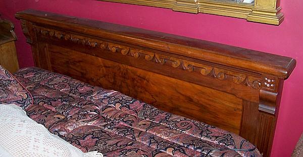 Figural Walnut Headboard with Bed Frame