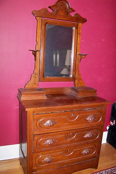 Antique 3 Drawer Walnut Dresser with Mirror