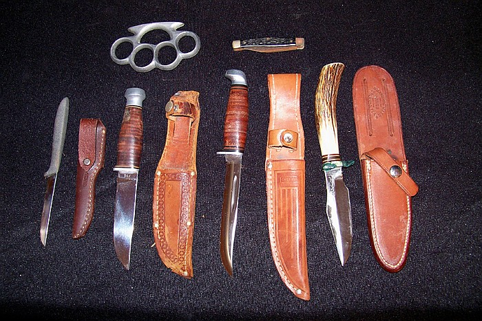 Assortment of 5 Knives- 4 with Sheathes. Two Pistol Cases and a Holster