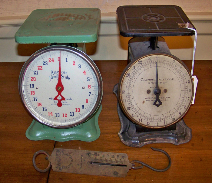 Vintage Columbia and American Family Scales and Brass Salters Hanging Scale