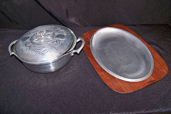 Aluminum Covered Bowl with Glass Insert and Aluminum Tray on Wooden Platter