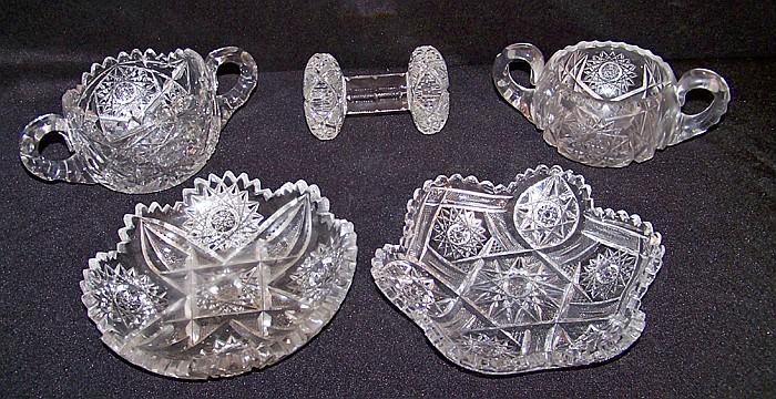 5 Pieces of Cut Glassware