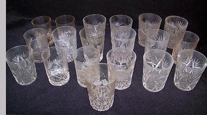 19 Cut Glass Tumblers