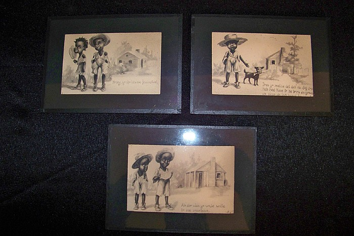 Set of 3 Black Americana Novelty Drawings Framed Under Glass