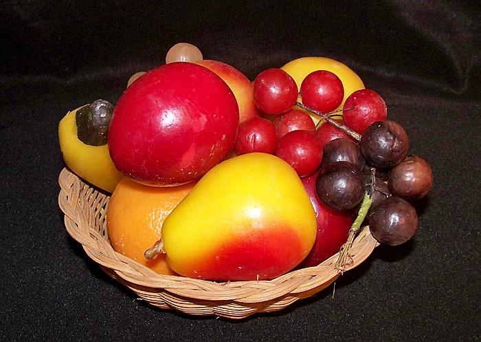 Wicker Bowl Full of Wax Fruit