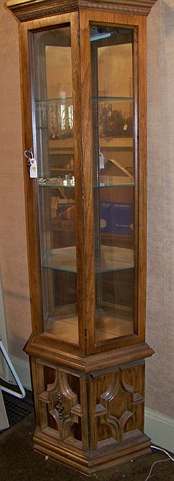 Half Hex Curio Cabinet with Mirrored Back