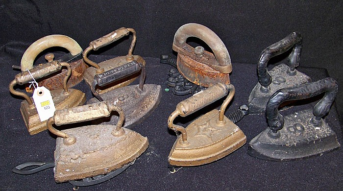 Group of 12 Iron Trivets and Sad Irons