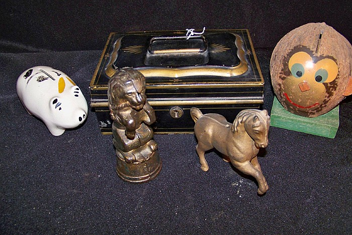 Tole Money Box, Two Cast Iron Banks and Coconut and Ceramic Pig Bank