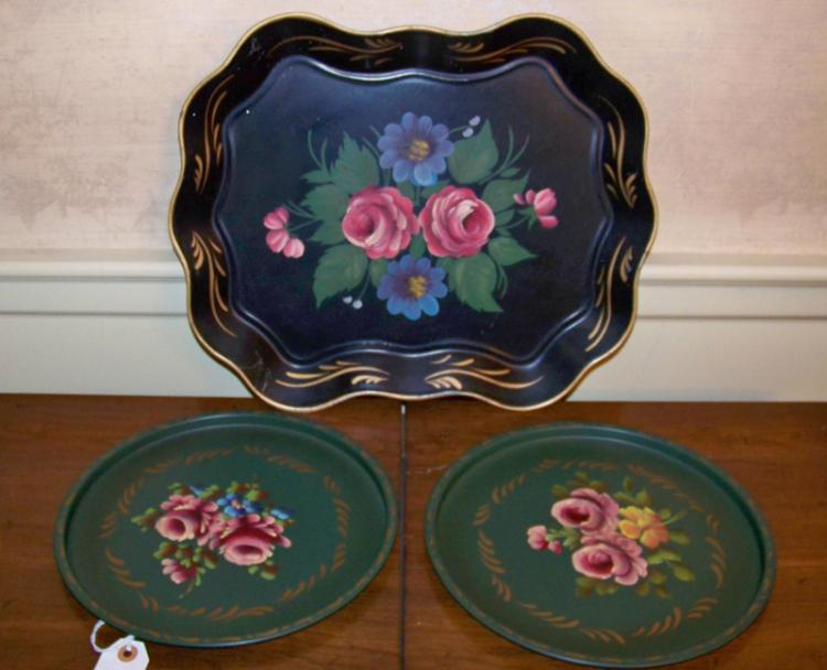 Pair of Hand Painted Serving Trays in addition to Large Painted Tray