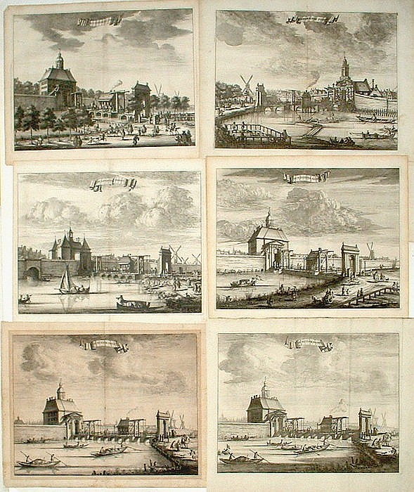 The Netherlands, Amsterdam; 6 copper engravings by Casparus Commelin - 1726