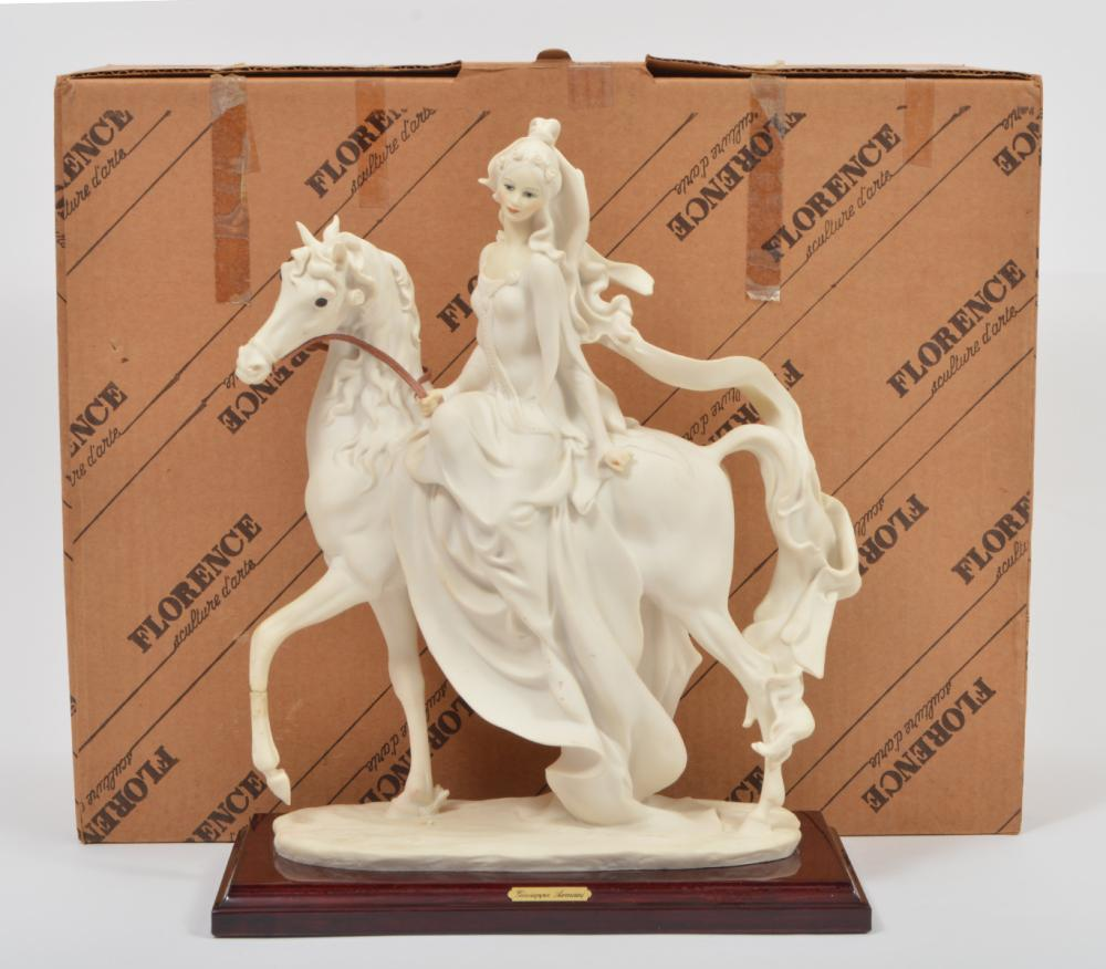 Giuseppe Armani Porcelain Lady on Horse w/Box