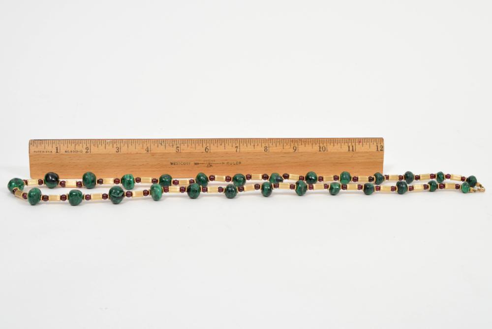 "Malachite & Garnet Strand Necklace 30""L"
