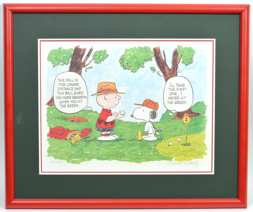 Charles Schulz Lithograph 'Hitting the Green'