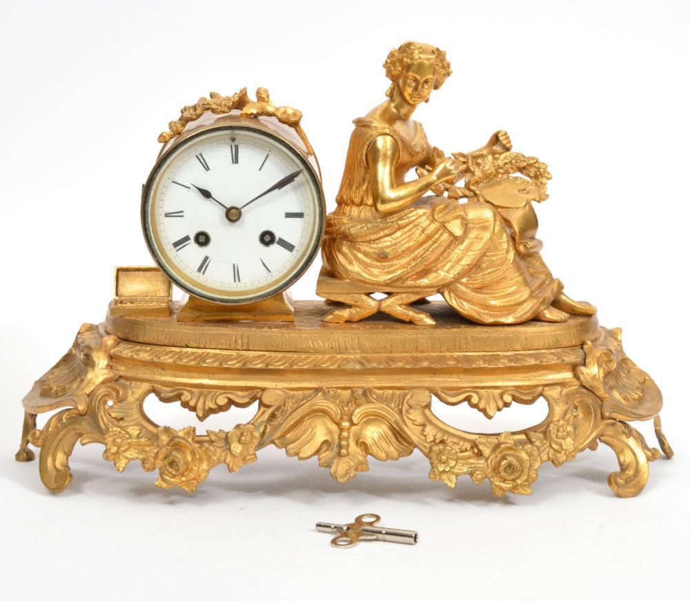 19th C. French Gilt Ormolu Figural Mantle Clock