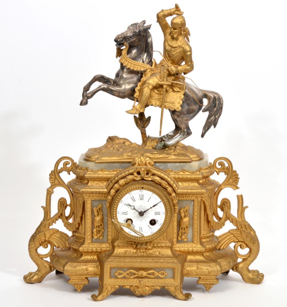 19th C. French Ormolu Figural Knight Mantle Clock