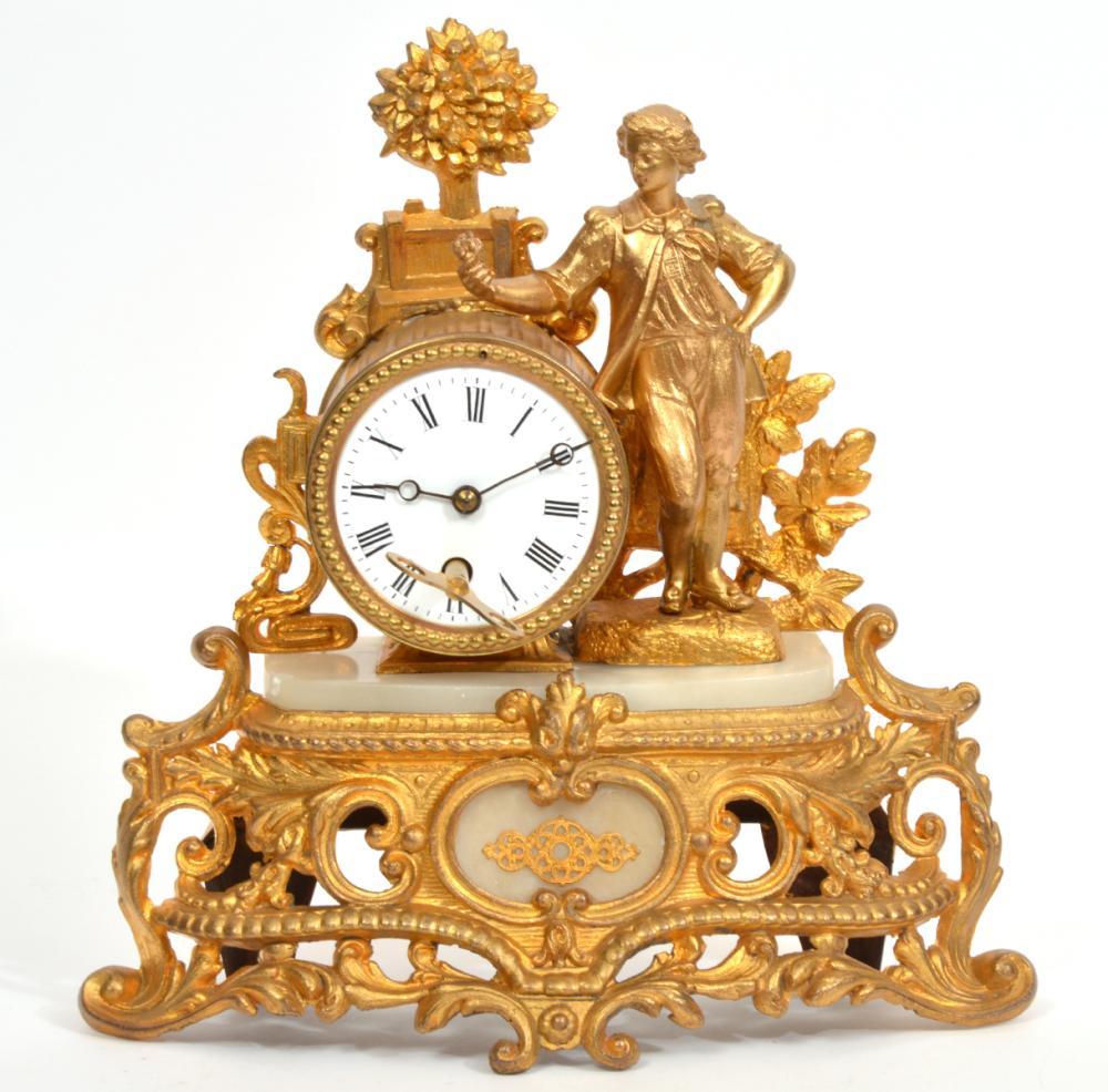 19th C. French Ormolu Alabaster Mantle Clock