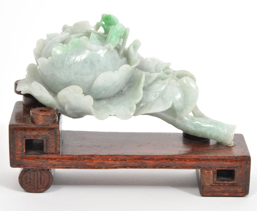 Chinese Hand-Carved Jade Flower on Wood Stand