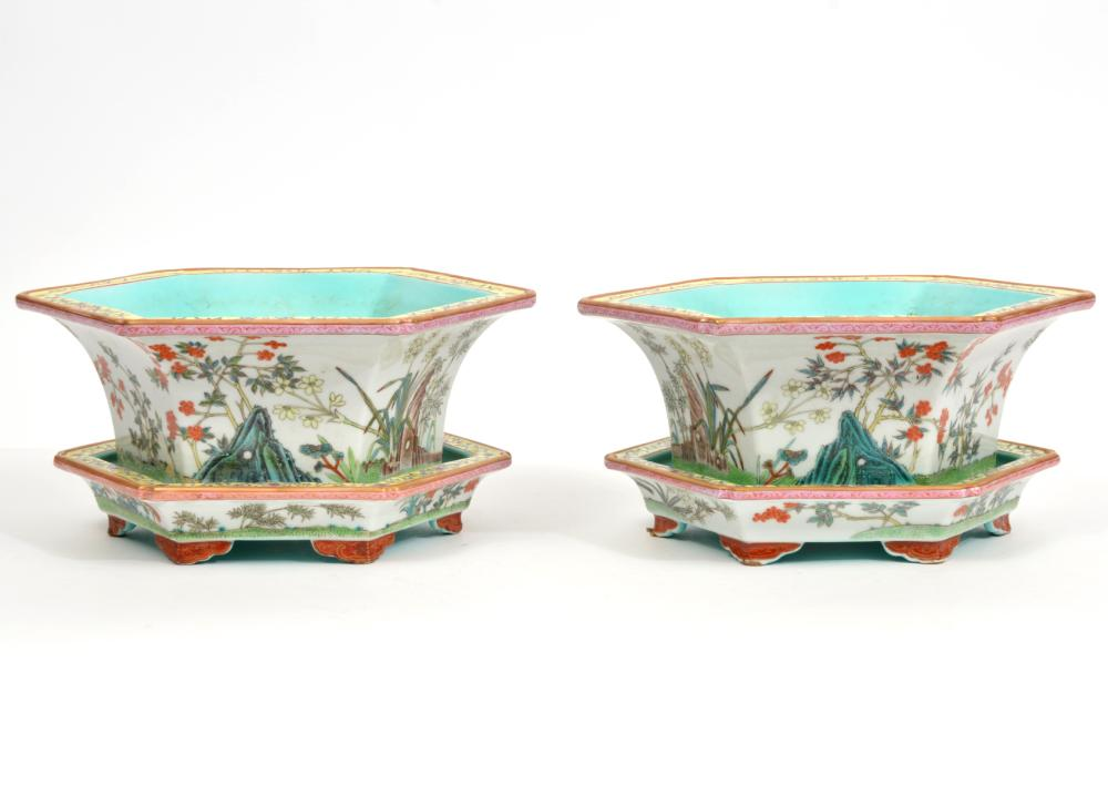 Pair of Chinese Porcelain Planters on Underplates