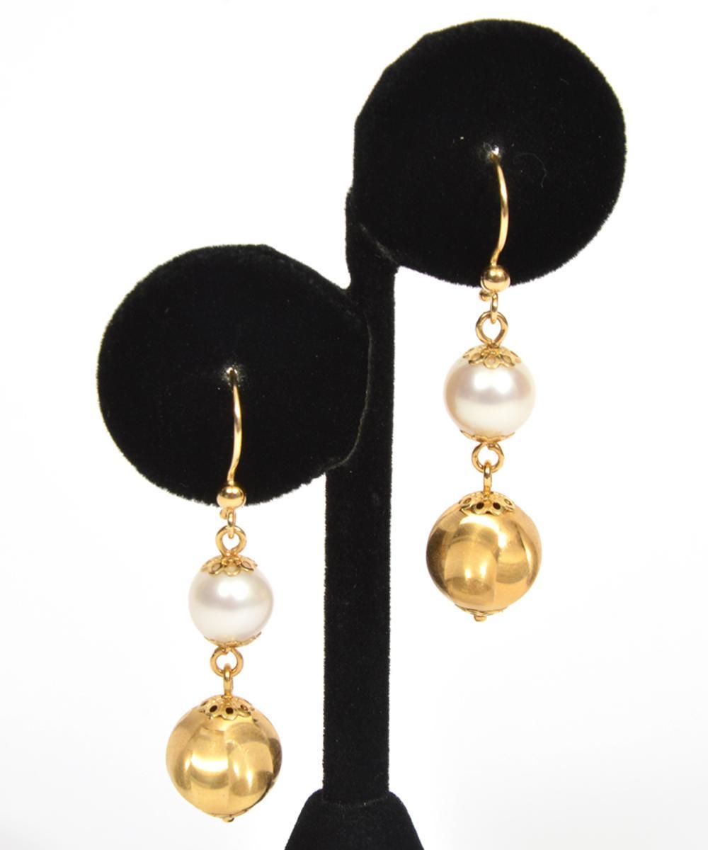 Italian 18K Gold Pearl Dangle Hook Earrings