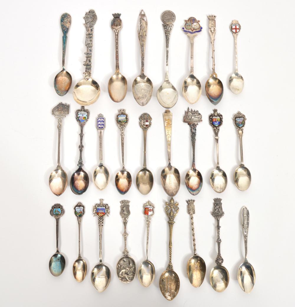 Assortment of 25 Silver Souvenir Spoons