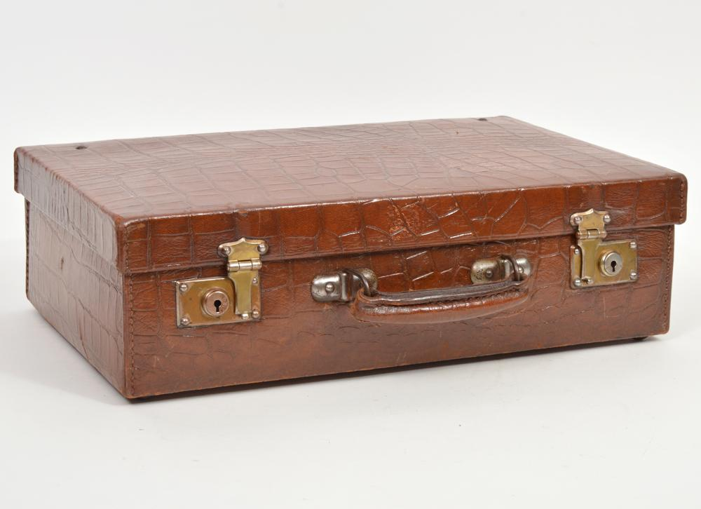 Vintage Embossed Leather Overnight Case
