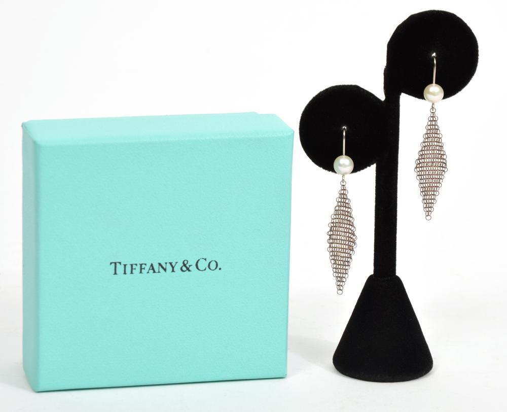 Tiffany & Co Sterling Mesh Pearl Hook Earrings