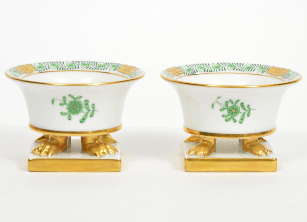 """Pair of Herend """"Apponyi Verte"""" Footed Dishes"""