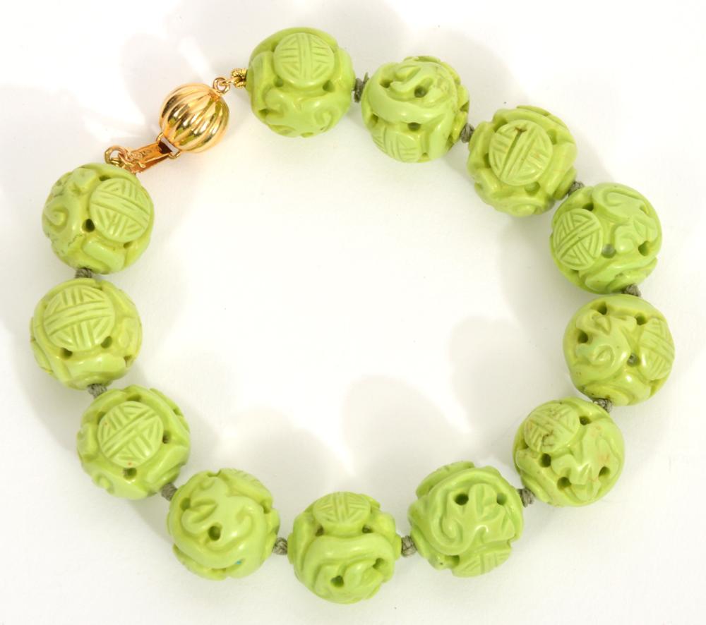 Chinese Ornamental Ball Bracelet 14K Clasp