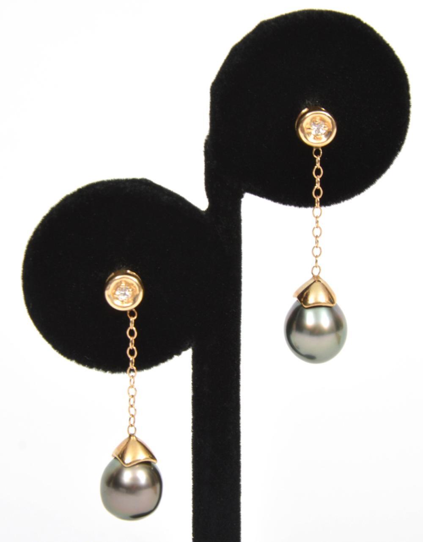 14K YG Diamond & Black Pearl Earrings & Pendant
