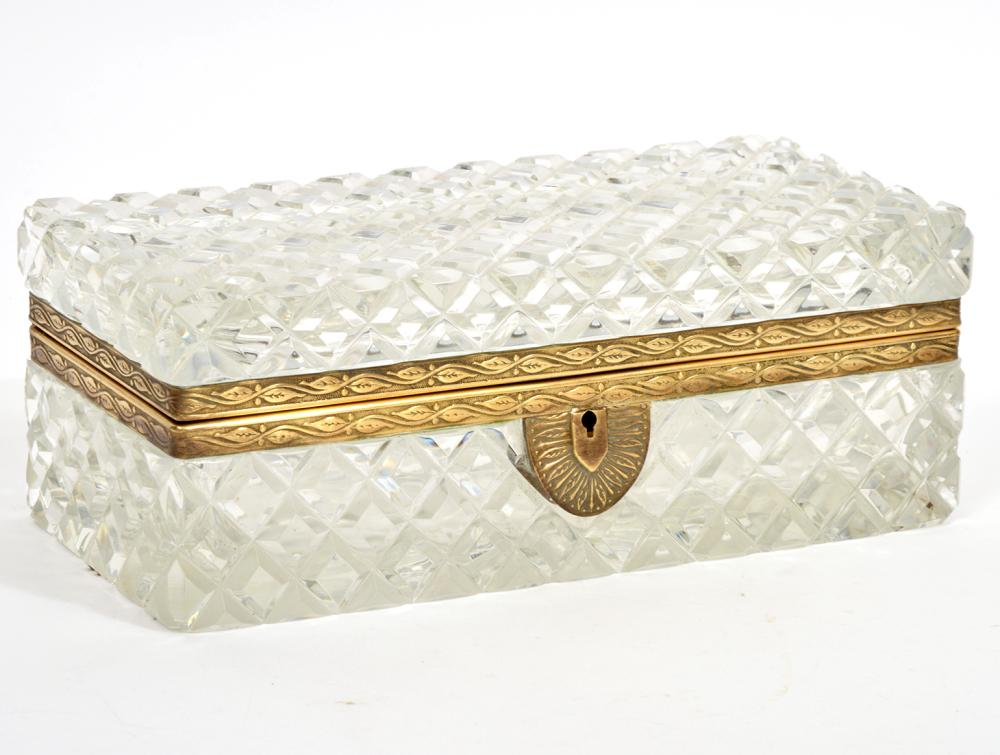 French Cut Crystal Bronze Mounted Box