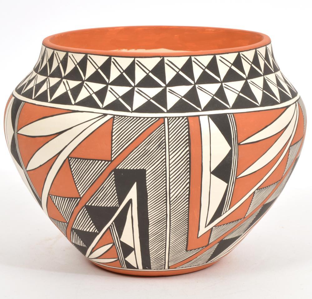 Mary Histia Acoma Painted Polychrome Pottery Olla