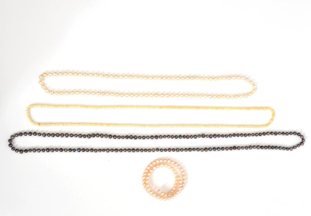 White & Black Pearl Necklaces & Bracelet