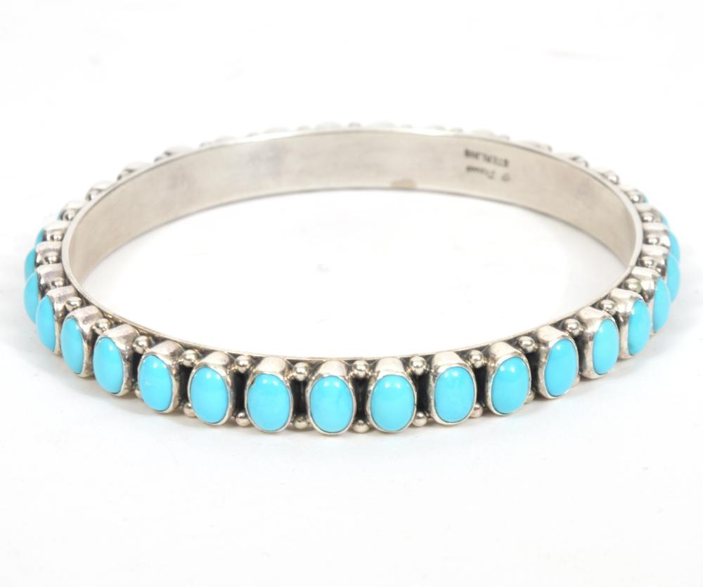 Navajo Happy Piasso Sterling & Turquoise Bangle