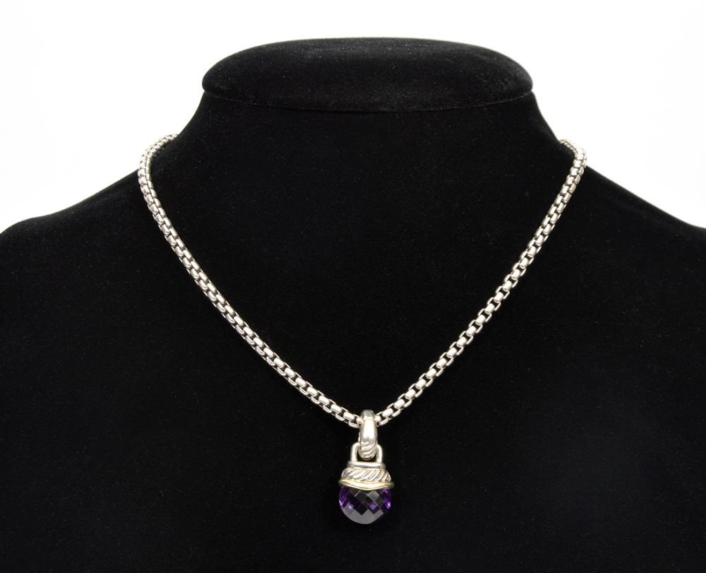 David Yurman Sterling & 14k Gold Amethyst Necklace