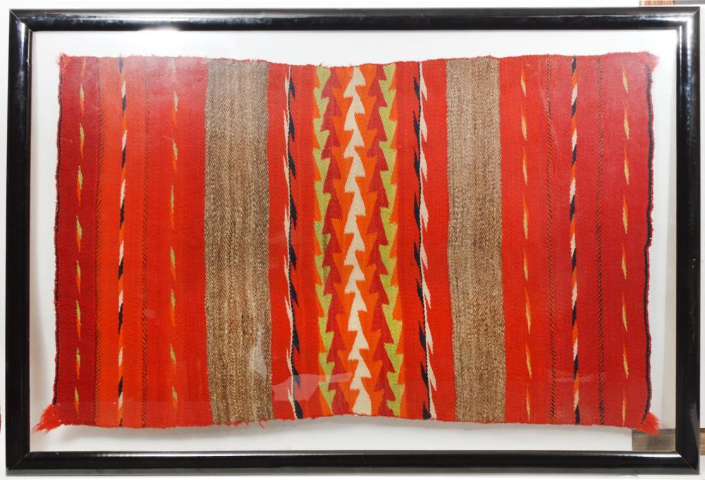 Framed Navajo Woven Carpet or Rug