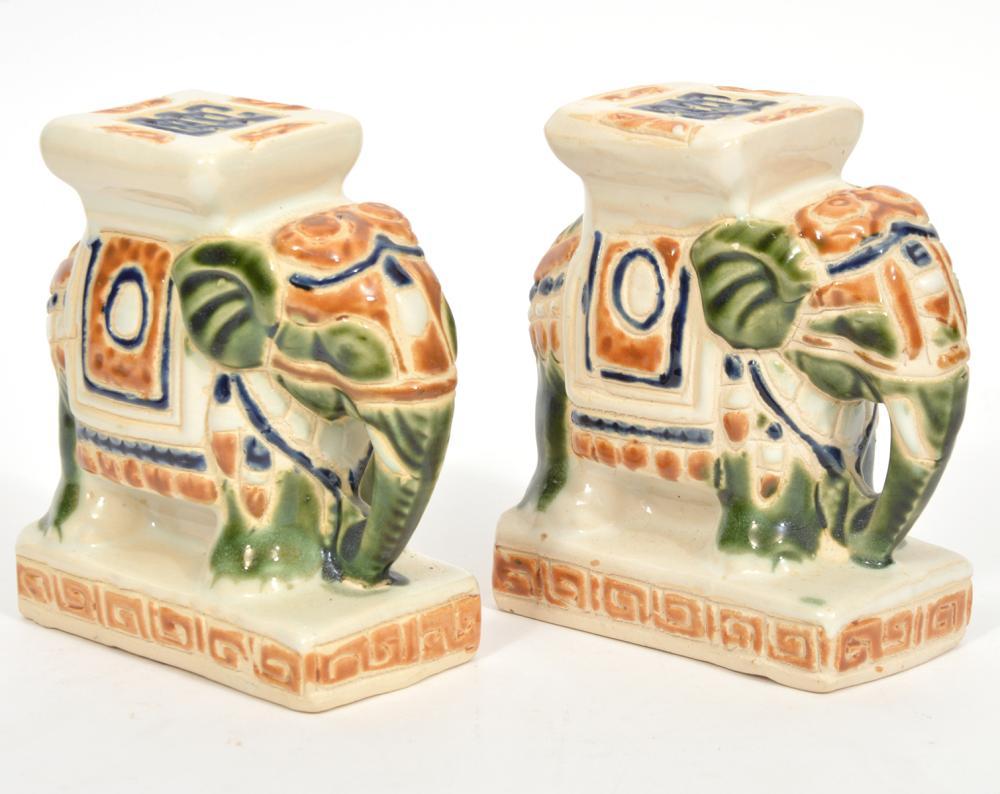 Pr. Vintage Ceramic Hand Painted Elephant Bookends