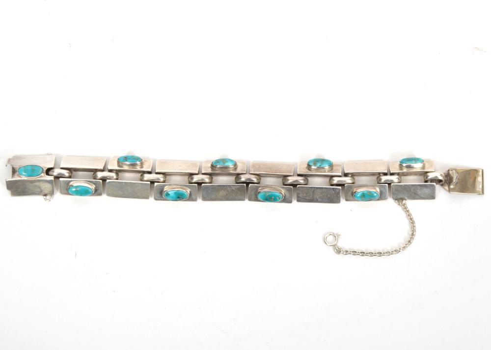 Sterling Silver & Turquoise Modern Link Bracelet