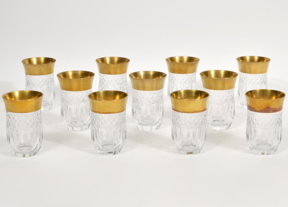 11 Moser Style Gilt Rimmed Water Tumblers