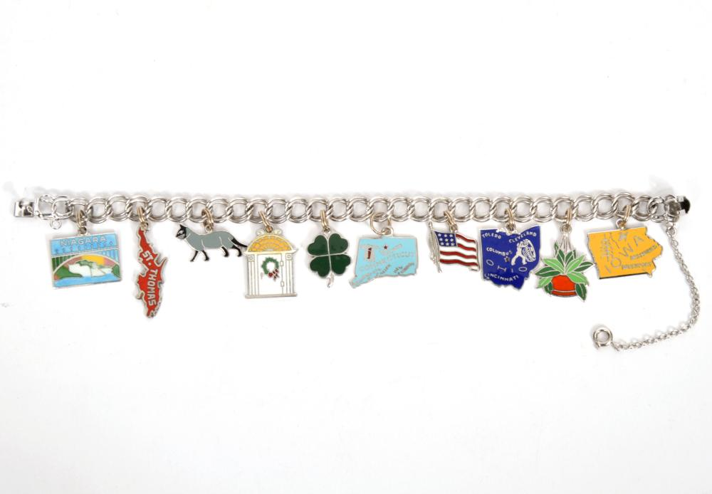 Sterling Silver Charm Bracelet with State Charms