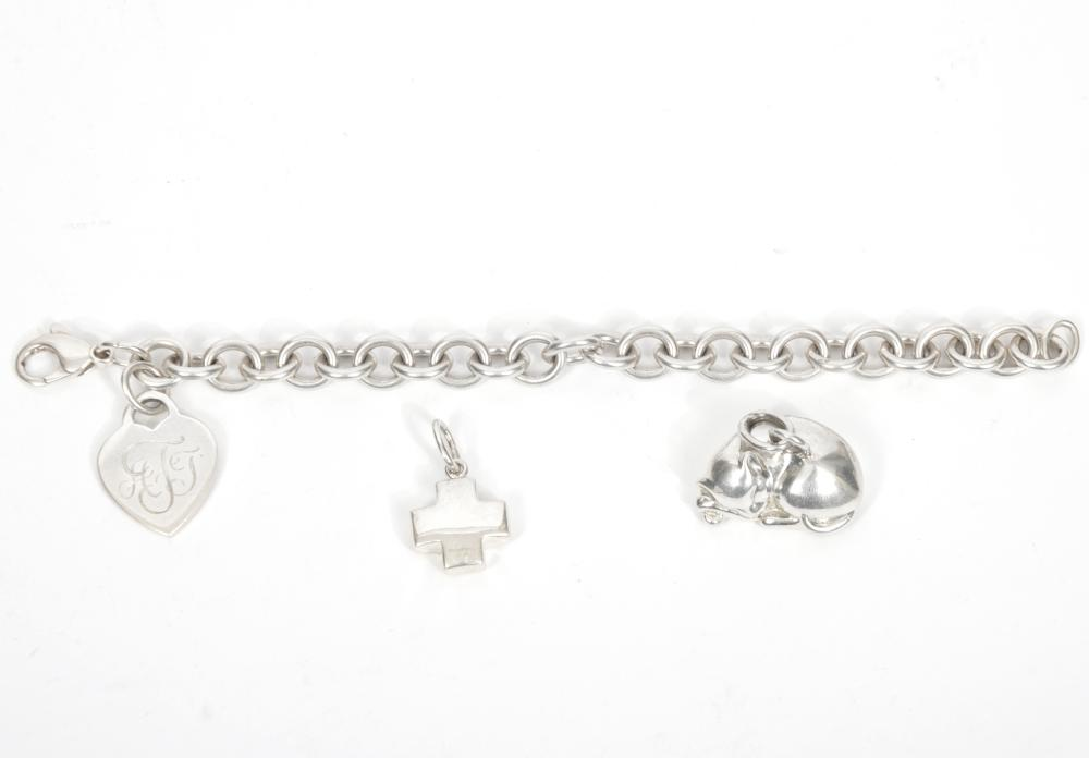 Tiffany & Co. Sterling Bracelet & Two Charms